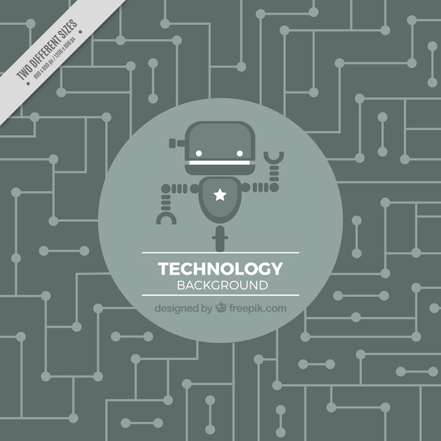 Technology background with robot in gray tones Free Vector