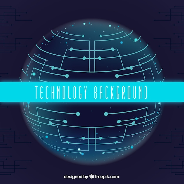 Technology background with sphere and\ circuits