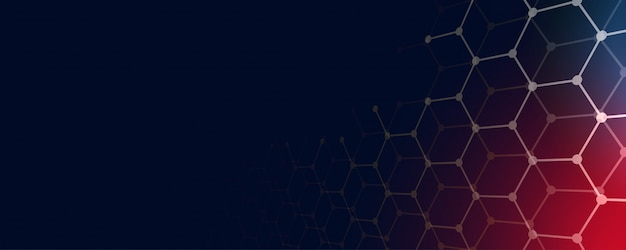 Technology banner background with hexagonal shapes and text space Free Vector