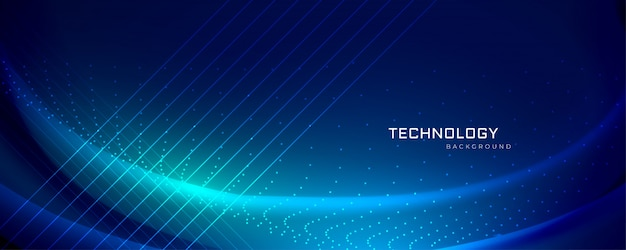 Technology banner design with light effects Free Vector