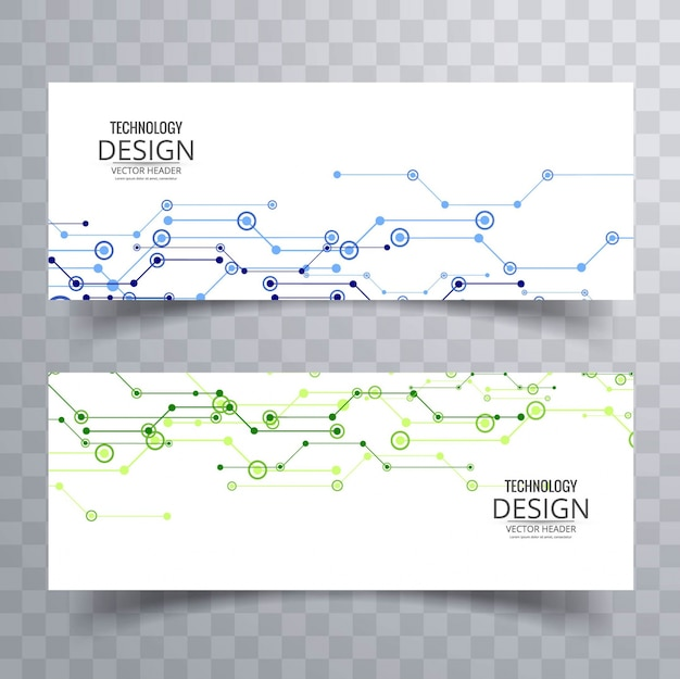 Download Vector Techno Blue Banner Design Vectorpicker