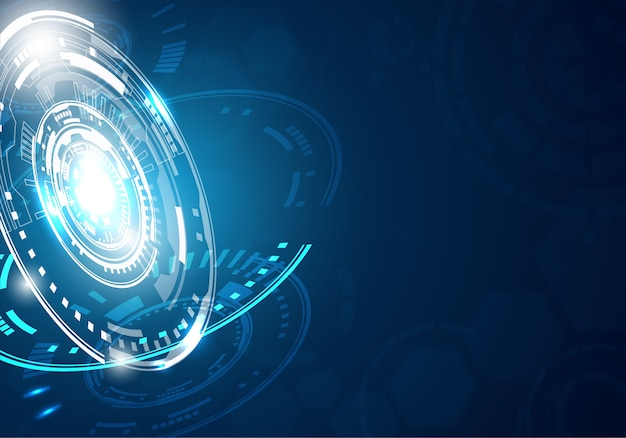 Technology Background With Circular Mesh: Technology Blue Tech Background With Shining Abstract