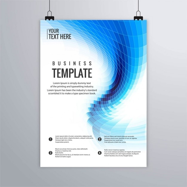 Technology Brochure With Blue Geometric Shapes Vector Free Download
