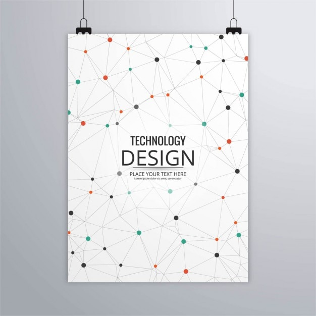 Technology brochure with dots and lines Free Vector