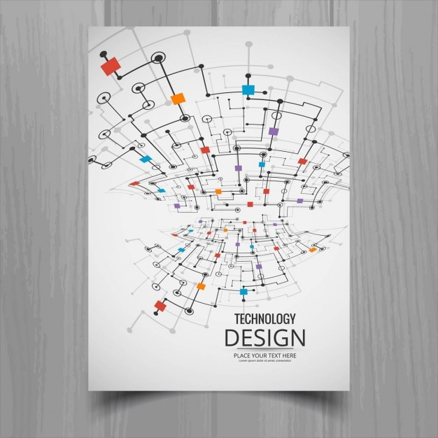 Technology brochure with links and squares