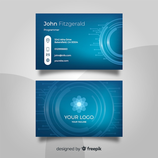 Technology business card template Free Vector