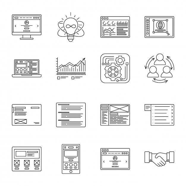 Technology and business thin line icons set. symbols for management, finance, computers and internet. Premium Vector
