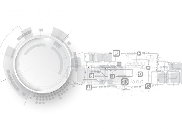 Technology circuit icon background Premium Vector