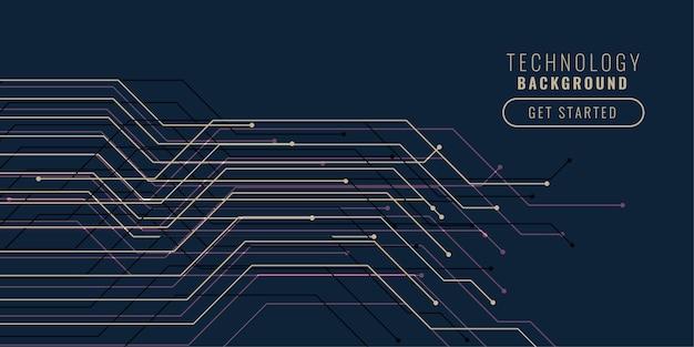 Progettazione del fondo delle linee del circuito tecnologico Vettore gratuito