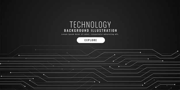 Technology circuit lines black digital background Free Vector