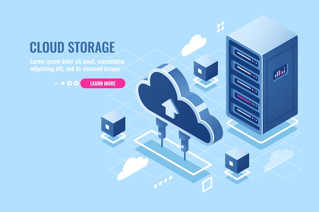 Technology of cloud data storage, server room rack, database and data center isometric icon Free Vector