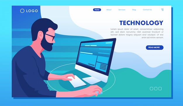 Technology computer and gadget website landing page Premium Vector