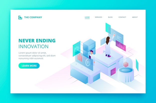 Technology concept landing page template Free Vector