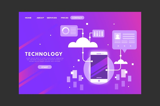 Technology concept landing page with gradient Free Vector