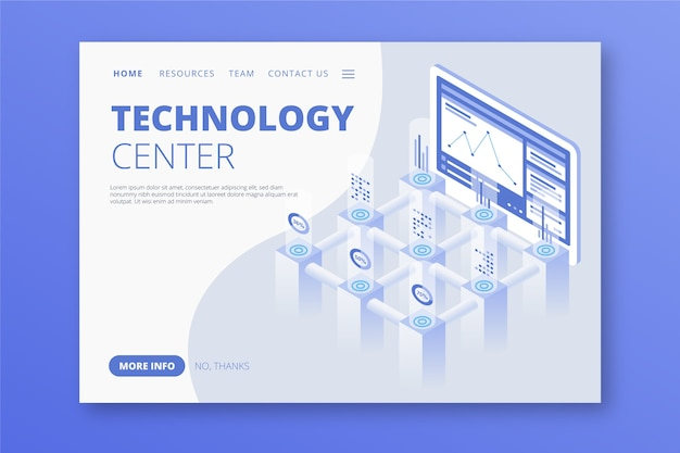 Technology concept template landing page Free Vector