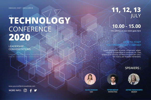 Technology conference bannertemplate Free Vector