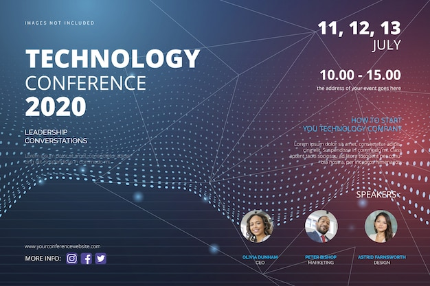 Technology conference flyer template Free Vector