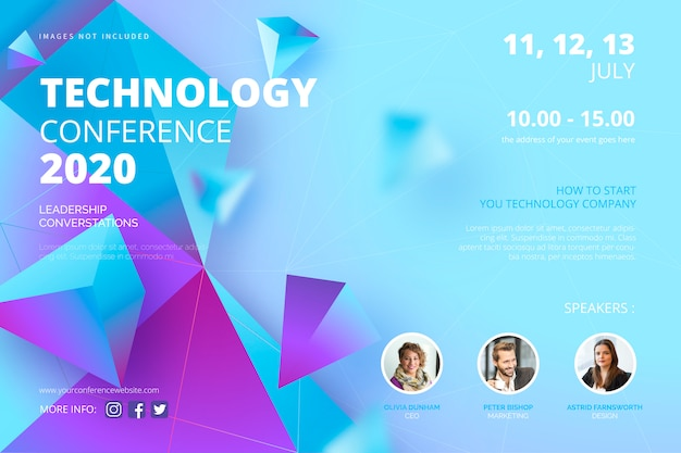 Technology conference poster template Free Vector