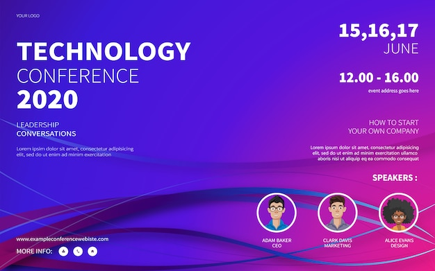 Technology conference website poster Premium Vector