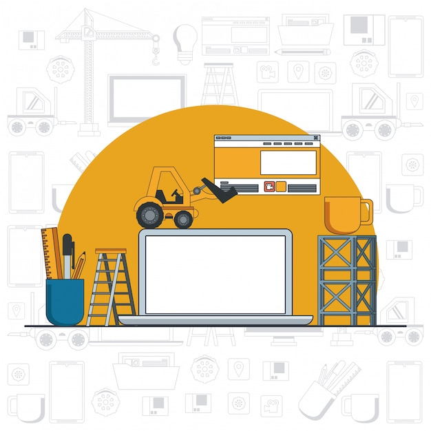 Technology device laptop maintenance cartoon Free Vector