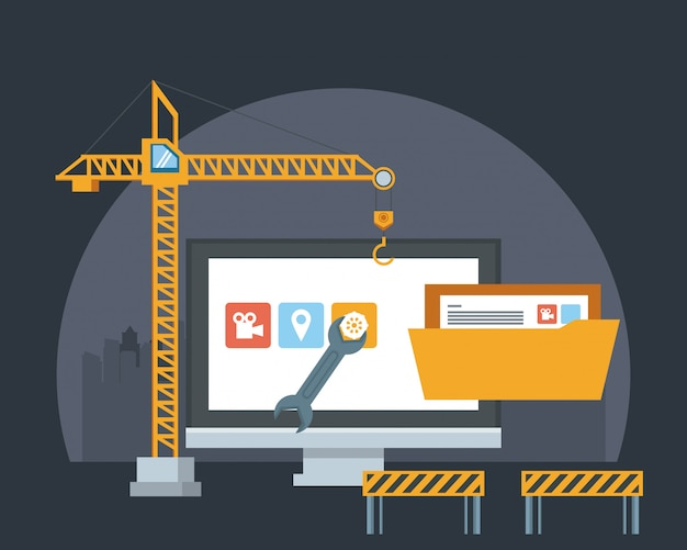 Technology device maintenance support cartoon Free Vector