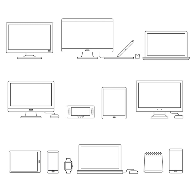 Technology devices Free Vector