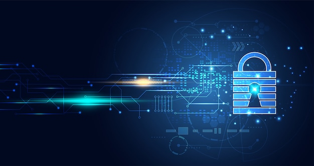 Technology digital cyber security privacy information network Premium Vector