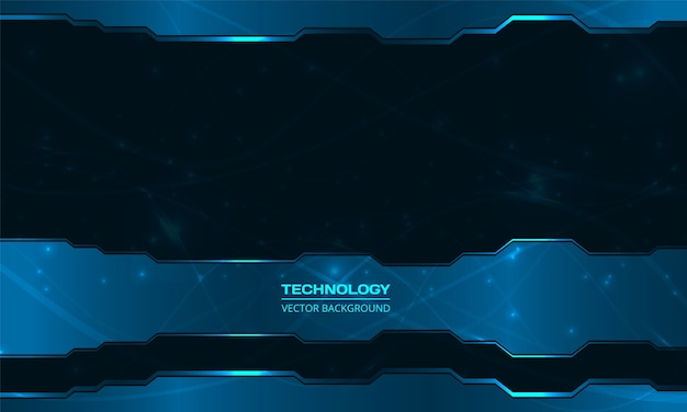 技術デジタル暗い青色の抽象的な背景。ネイビーブルーの抽象的なメタリックフレームレイアウトデザインイノベーションハイテク概念の背景。 Premiumベクター