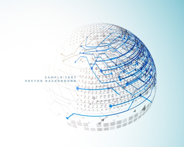Technology digital lines in 3d sphere style Free Vector