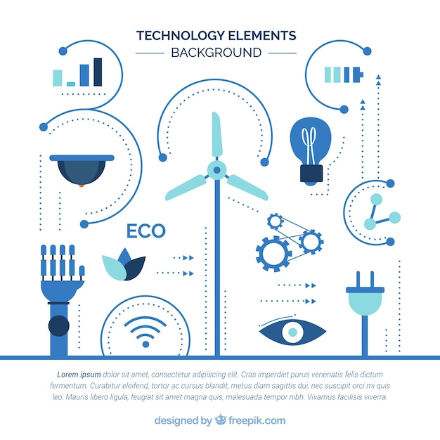 Technology elements background in flat\ style