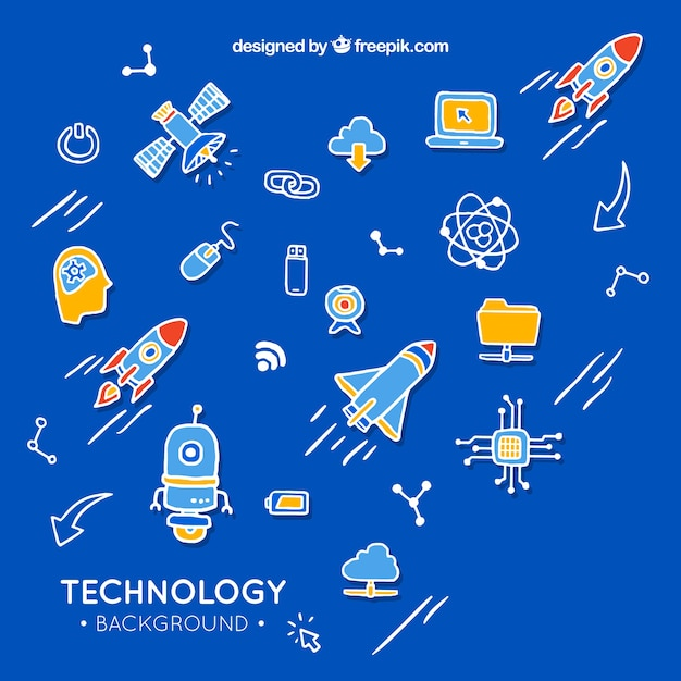 Technology elements background in hand drawn style Free Vector