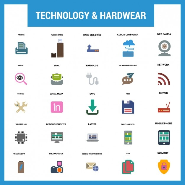 Technology fat icon set Free Vector