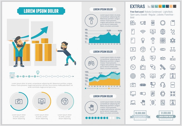 Technology flat design infographic template and icons set Premium Vector