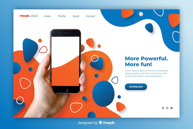 Technology fluid landing page with photo Free Vector