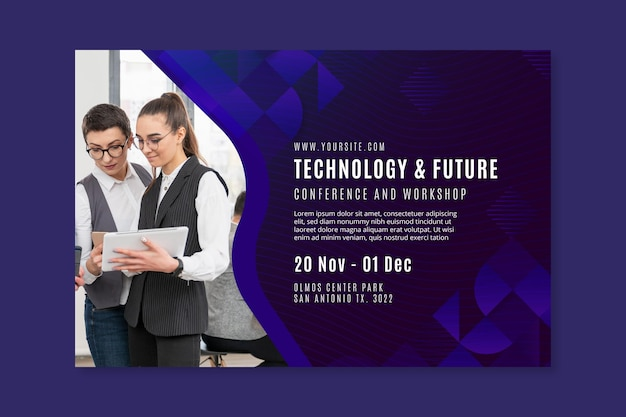 Technology and future business banner template Free Vector