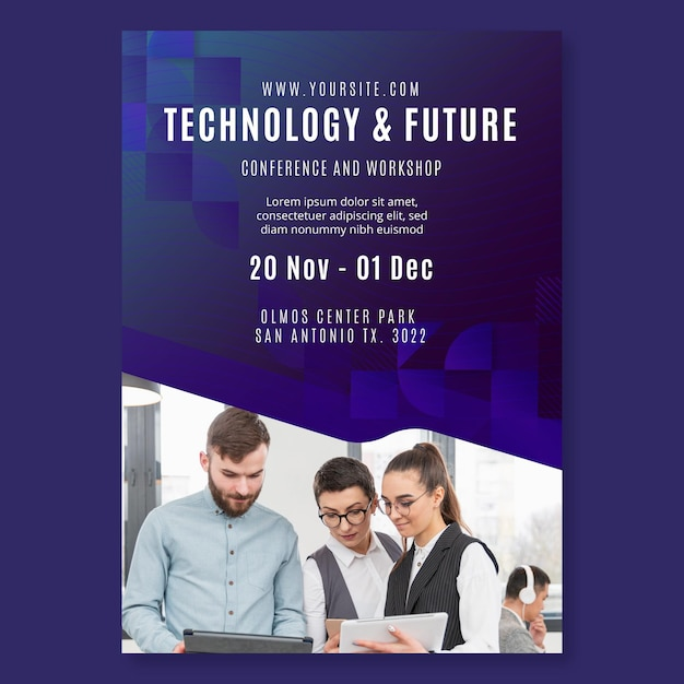 Technology and future business flyer template Free Vector