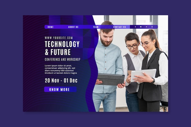 Technology and future business landing page template Free Vector