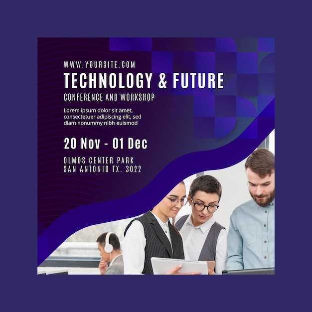 Technology and future business square flyer template Free Vector