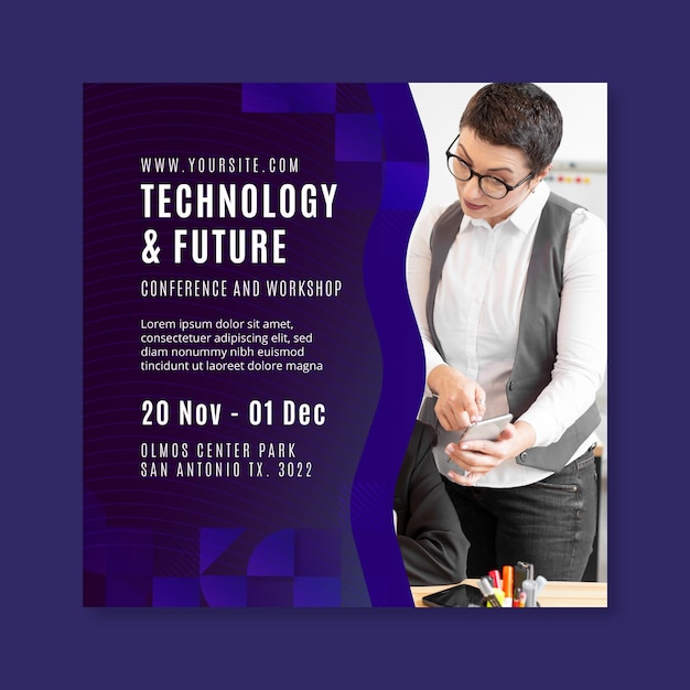 Technology and future business square flyer Premium Vector