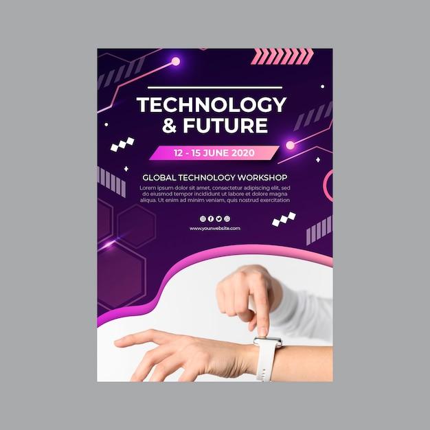 Tecnologia e futuro modello di volantino Vettore gratuito