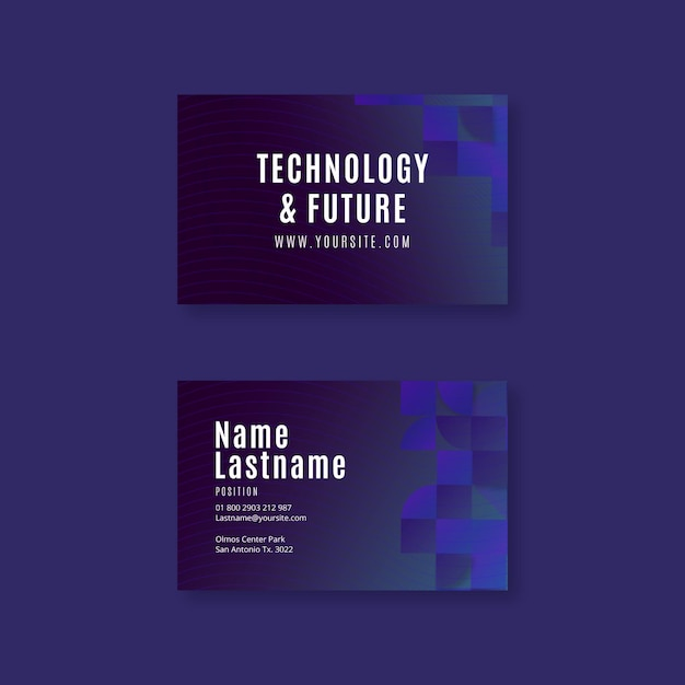 Technology and future horizontal business card template Premium Vector
