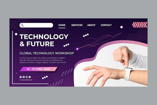Tecnologia e futuro modello di pagina di destinazione Vettore gratuito