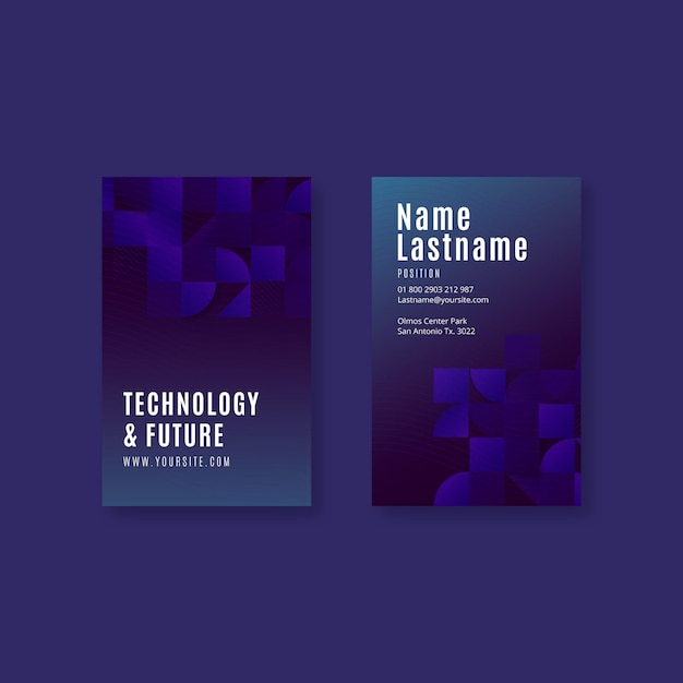 Technology and future vertical business card template Premium Vector
