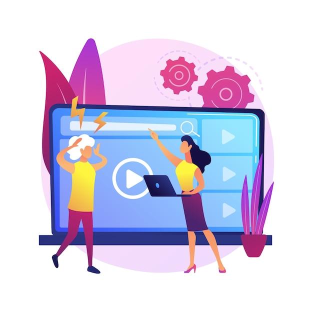 Illustrazione di concetto astratto di gap tecnologico. divario digitale, divario delle app, uso della tecnologia, dispositivo mobile, comprensione, paese in via di sviluppo, sfasamento temporale, alfabetizzazione digitale. Vettore gratuito