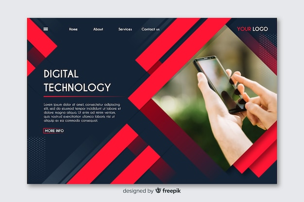 Technology geometric landing page with photo Free Vector