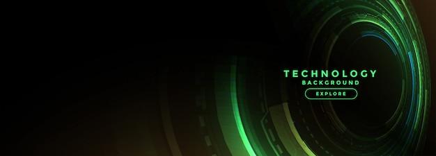 Bandiera verde di tecnologia con diagramma digitale Vettore gratuito