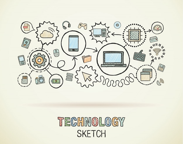 Technology hand draw integrate icons set on paper. colorful  sketch infographic illustration. connected doodle pictograms, internet, digital, market, media, computer, network interactive concept Premium Vector
