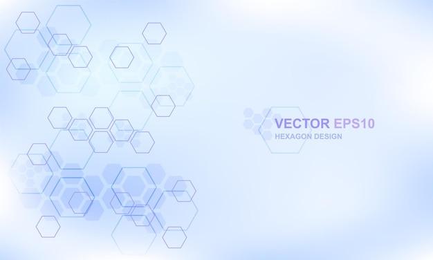 技術六角形の概念の医学的背景。ハイテク未来的なモダンな背景。 Premiumベクター