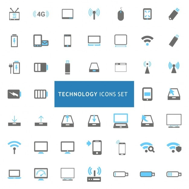 Science and technology icons collection vector | free download.