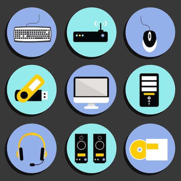 Technology icons collection Free Vector